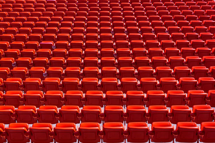 Full Frame Shot Of Red Bleachers