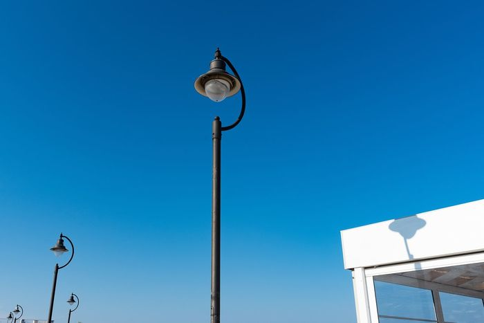 Series Blue Low Angle View Sky Lighting Equipment Street Light Street Clear Sky