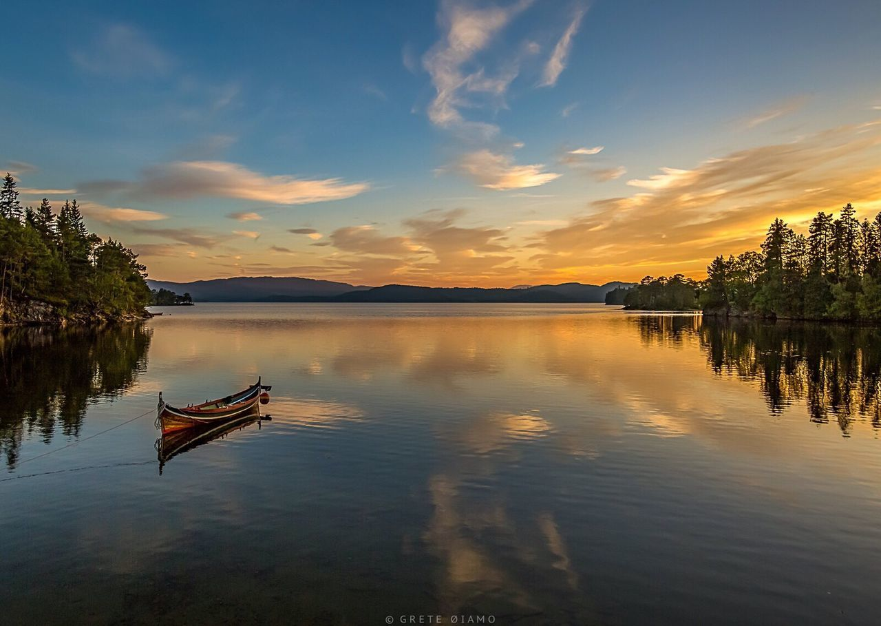 water, reflection, sunset, sky, nature, nautical vessel, beauty in nature, cloud - sky, tranquility, transportation, scenics, tranquil scene, lake, outdoors, no people, tree, day