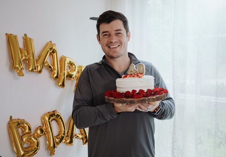 40 Birthday Party Birthday Cake One Person Adult Smiling Men Indoors  Food Holding Food And Drink Emotion Front View Happiness Looking At Camera Portrait Mature Men Waist Up Casual Clothing Males