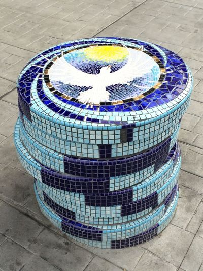 Downtown Reno showcasing their Urban Art Pokerchips Poker Chip Mosaic Tiles Doves Dove