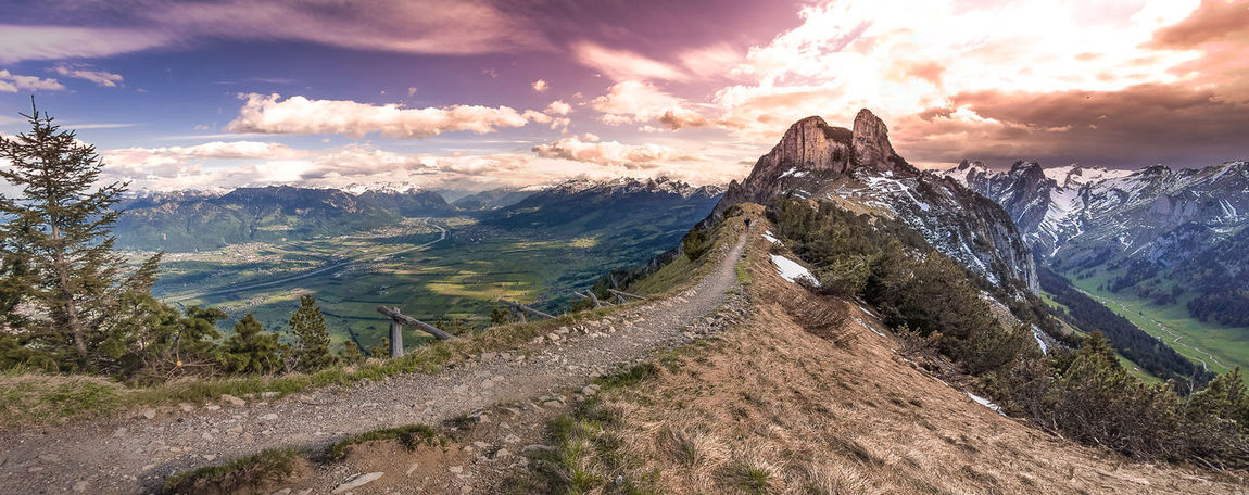 Alps Beauty In Nature Day Landscape Mountain Mountain Range Nature No People Outdoors Path Rhine Scenics Sky Sunset Switzerland Valley Winding Road