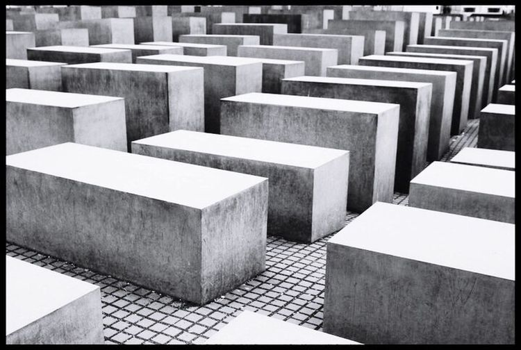 Holocaust Memorial Transfer Print Auto Post Production Filter Repetition Concrete In A Row Full Frame Steps Block Shape Memories Day Outdoors Architectural Feature Culture No People Famous Place Stone Material Order Battle Of The Cities Capture Berlin The Architect - 2017 EyeEm Awards