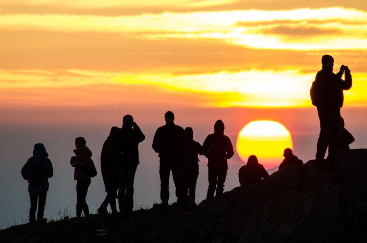 sunrise Beauty In Nature Lifestyles Men Nature Orange Color Outdoors People Real People Scenics Silhouette Sky Standing Sun Sunrise Sunset