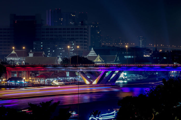 Night Cityscape River and People on Bridge At Bangkok Night Illuminated Architecture Building Exterior Built Structure City Motion Long Exposure Blurred Motion Transportation Street Light Trail City Life Speed Building Road Nature Water Outdoors Cityscape No People Office Building Exterior Skyscraper Copy Space