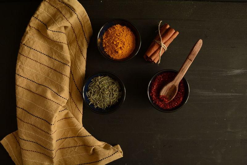 Napkins Spices Napkin Thyme Red Peppers Colchicum Crocus Saffron Cinnamonrolls Cinnamon Darkfood Kitchen Wooden Spoon