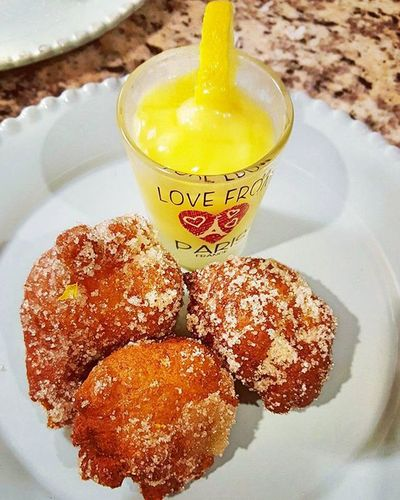 Homemade Beignets with a Lemon basil curd dip. I opted to roll beignets in raw sugar rather than the usual powdered sugar! Delicious Yummy Beignets Lemon Curd Food Photography Ruby Cakes