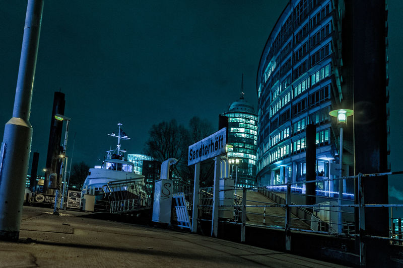 Ferry Terminal Sandtorhöft Boat Deck Elbe River Hafencity Hamburg Hamburg Harbour Nikon Riverside Architecture Blue Blue Sky Building Exterior Built Structure City Footbridge Crossing Hamburgmeineperle Illuminated January2016 Kehrwiederspitze Lanterns In The Dark Modern Art Myhamb Night Nightsky Nikonartists Nikonphotography No People Outdoors Ponton Bridge Ships Sky