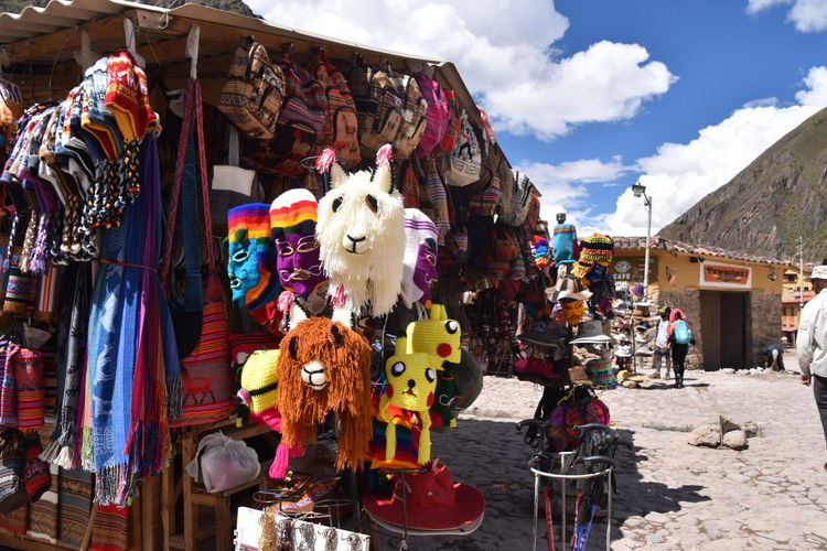 EyeEm Selects Market Stall For Sale Market Multi Colored Arts Culture And Entertainment Retail  Outdoors Hanging Day Business No People Touristing  Tourist Tat Woolen Peru Olantaytambo