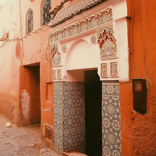 Architecture Built Structure Building Exterior Riad Marrakech Medina, Morocco Marrakech Morroco Ancient History Pink Mosaic Tiles Mosaic