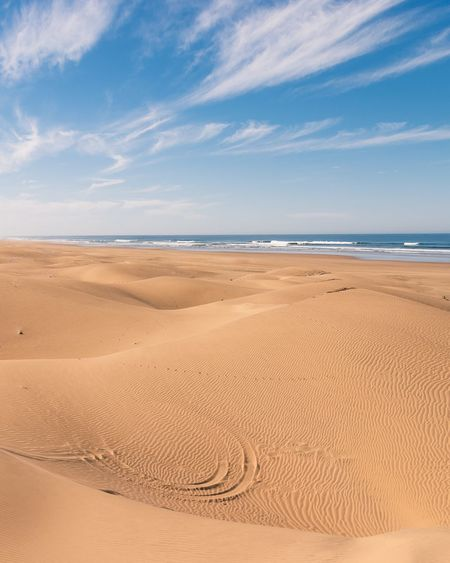 Sandy dunes by the beach Sand Sand Dune Landscape Outdoors No People Desert Cloud - Sky Water Beach Sky Sea Nature Morocco Travel Travel Destinations Sidi Kaouki Horizon Over Water Climate Horizon Clouds Clouds And Sky Waves, Ocean, Nature Waves