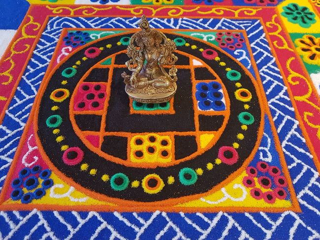 green tara Buddhism Sandmandala Religion Ritual Pattern Creativity Full Frame Indoors