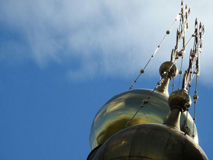 Spas Na Krovi Cross Golden Dome Architecture EyeEm Best Shots Sankt-peterburg Russia Blue Sky Fine Art Photography