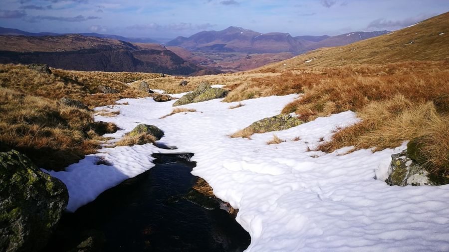 Snow Over Tributary Dont Fall Through ! Look Out For The Dangers Know The Dangers Skiddaw In Distance