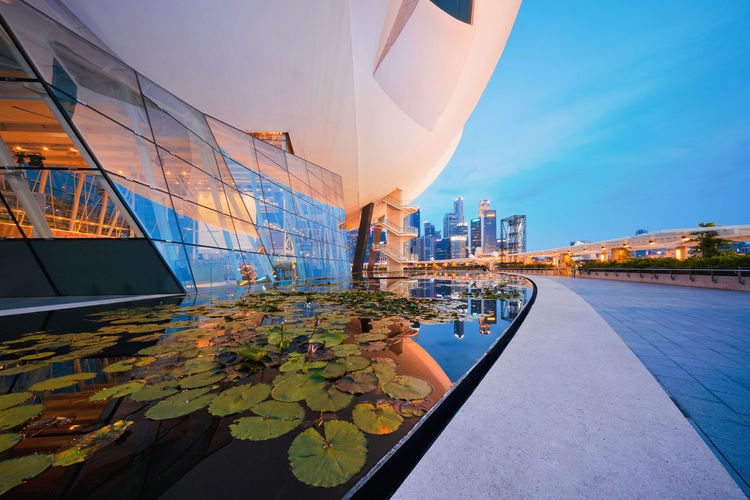 Lotus in downtown Singapore city in Marina Bay area with blue sky. Financial district and skyscraper buildings. Architecture Cityscape Downtown Singapore Skyscrapers Travel Architecture Background Blue Building Building Exterior Buildings Built Structure Capital Change City Day Financial Glass - Material Infrastructure Modern Nature No People Office Building Exterior Outdoors Reflection Sky Skyscraper Technology Transportation Travel Destinations Water