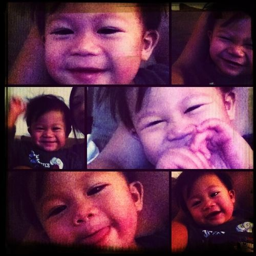 Waking up with Gabriel. All smiles & funny faces.