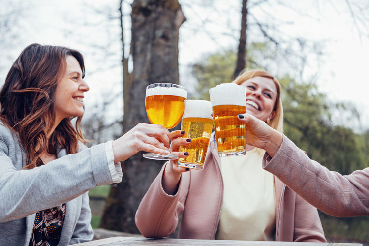 Friends toasting glasses on table against trees