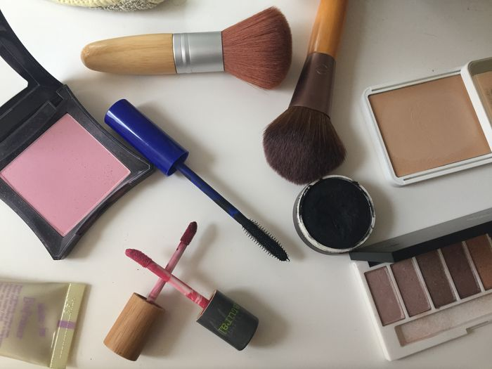 Woman Make up on a table while getting ready Make-up Make-up Brush Still Life High Angle View No People Beauty Product Indoors  Table Choice Variation Lipstick Beauty Blush - Make-up Fashion Body Care And Beauty Personal Accessory