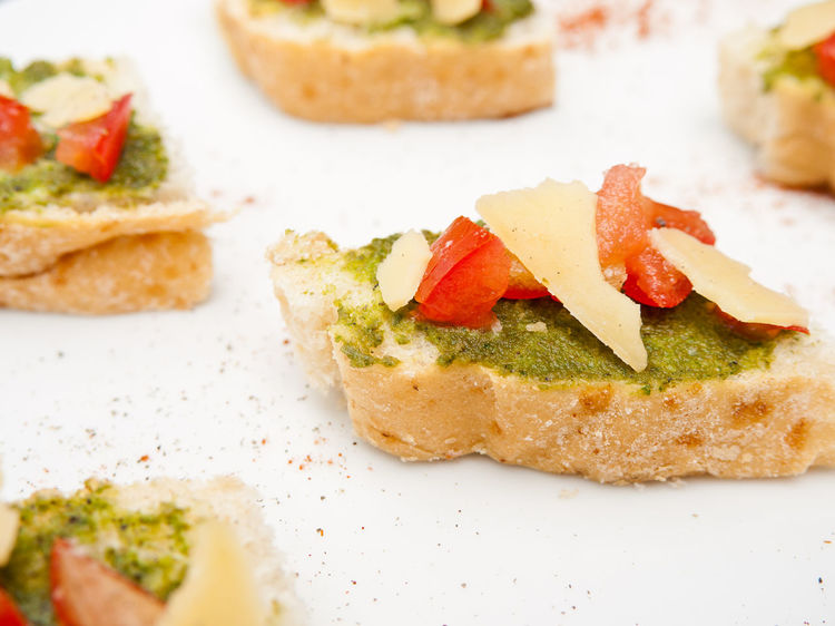 Bread Bruschetta Cheese Close-up Food Food And Drink Freshness Healthy Eating Parmesan Pesto Sauce Plate Ready-to-eat Sandwich SLICE Tomato