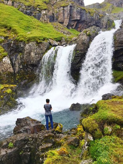 Waterfall Kid Son View Iceland Iceland216