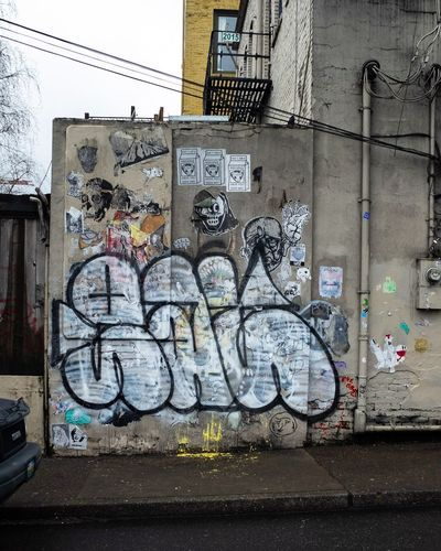 meanwhile in Portland Pdx Street Art Text Dirty Graffiti Spray Paint Architecture Built Structure Building Exterior