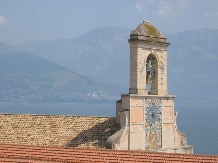 Bell tower on the sea to Gaeta in Italy. Travel Destinations Mountains In Distance Sunnyday☀️ Blue Sky Gaeta Italy🇮🇹 Architecture Clock Clock Tower Mountain No People Bell Tower Outdoors Blu Sky Sea Painting Clock Travel Destinations Bell Tower - Tower Town Catholicism Rooftop