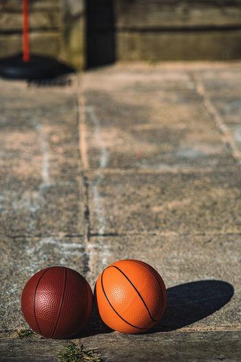 High angle view of basketball hoop on floor