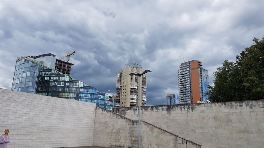 Vilnius Sky Skyscrapers NDG National Gallery Of Art Cloudy Portrait Lithuania Travel
