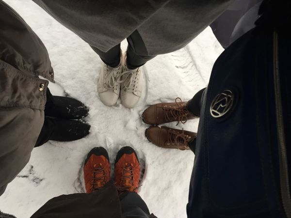High Angle View Human Leg Lifestyles Low Section Outdoors Shoe Standing Togetherness