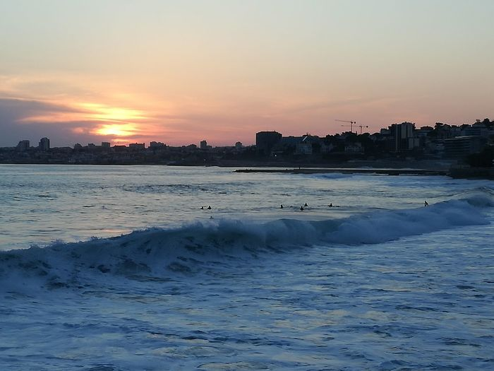 Praiadapoça Estoril Sunset Sea Beach Water City Travel Destinations Nature Beauty In Nature Wave Portugal Lisbon Simple Photography Colour Of Life Relaxing Chilling