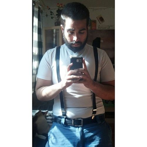 Here's a bearded man with plugs and suspenders. Me Plugs PlugYourHoles Piercings pierced modified suspenders beard beards beardporn guyswithpiercings guyswithplugs guyswithbeards stretchedears alternative alternativeguys handsome easter happyeaster