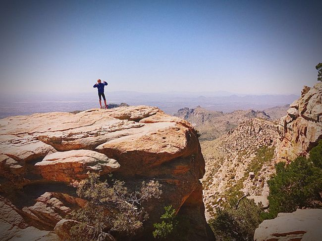 Hiking Rock - Object Real People Adventure Lifestyles Full Length Leisure Activity Beauty In Nature Nature Standing Two People Scenics Rear View Travel Tranquility Day Outdoors Vacations Clear Sky Men Tucson Arizona  EyeEmNewHere Sunset #sun #clouds #skylovers #sky #nature #beautifulinnature #naturalbeauty #photography #landscape Check This Out
