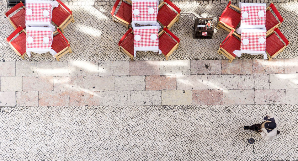 High angle view of a zebra crossing