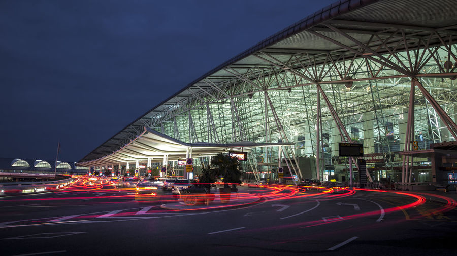 Guangzhou Airport HUAWEI Photo Award: After Dark Airport Architecture Building Exterior Built Structure Car City Early Morning Illuminated Motion Outdoors Sky Transportation