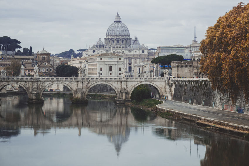 Cathedral River View San Pietro In Vaticano Arch Architecture Bridge - Man Made Structure Building Exterior Built Structure City Day History No People Outdoors Reflection River Sky Travel Destinations Tree Water