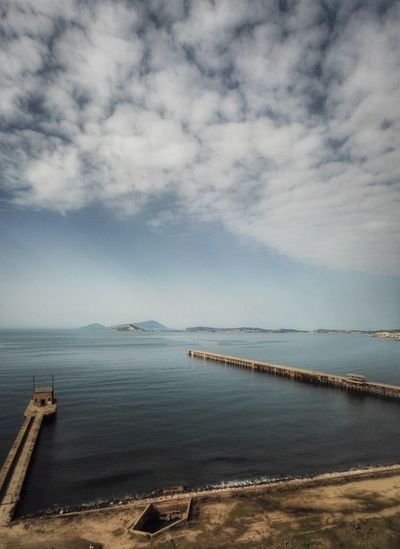 A dock in the bay Napoli Bagnoli Sky Sea Cloud - Sky Water Scenics Tranquility Tranquil Scene