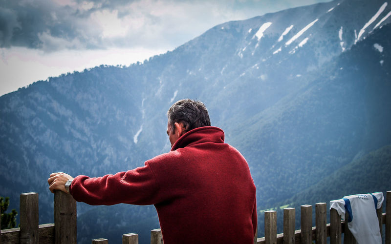 Breathing Space Beauty In Nature Cloud - Sky Cold Temperature Day Greece Leisure Activity Men Mount Olympus Mountain Mountain Range Nature One Man Only One Person Only Men Outdoors Real People Rear View Scenics Snowcapped Mountain Standing Warm Clothing Winter