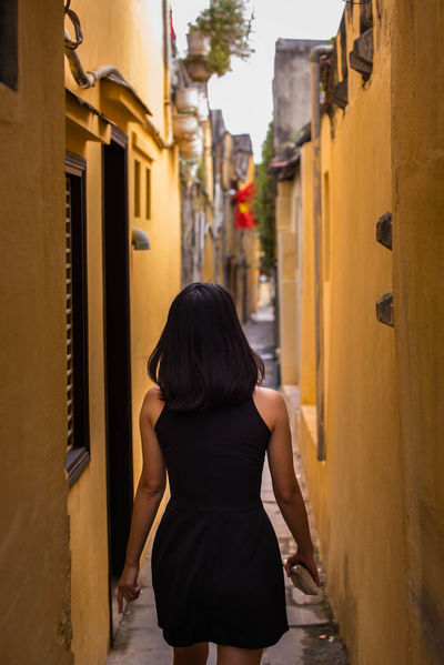 BlackDress City Hoian  Hoian, Vietnam HoiAnancienttown Oldcity Street Streetphotography Vietnam Vietnamese Vietnamesegirl Walking Yellowwalls First Eyeem Photo