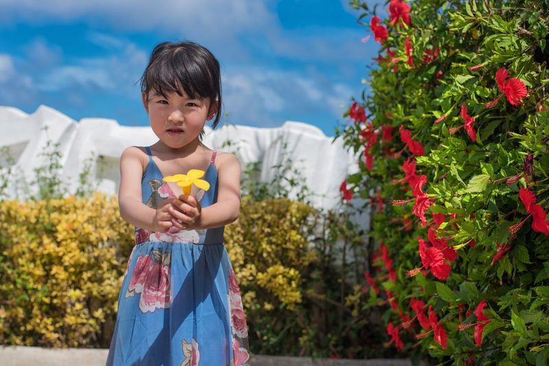 Childhood Child One Person Plant Nature Cute Offspring Front View Happiness Flower Outdoors Girls