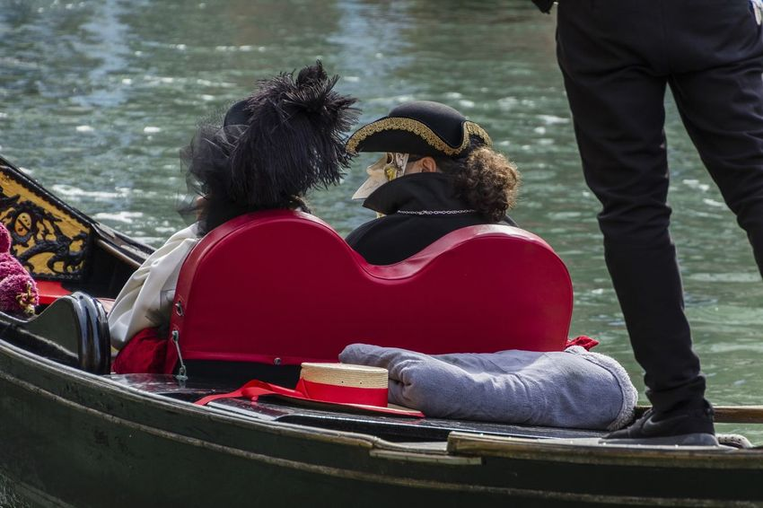 Carnival in Venice 2017 Carnival Disguise Costumes Couple - Relationship Gondola - Traditional Boat Nautical Vessel Outdoors People Rear View Red Sitting Togetherness Transportation Venetian Mask