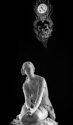 Beautiful white and black photography from castle in France Studio Shot Statue Black Background Sculpture Indoors  One Person Young Adult Day People Blackandwhite Photography Black & White Black And White Blackandwhite Low Angle View Indoors  No People The Week On EyeEm Chantilly Lovers Chantilly