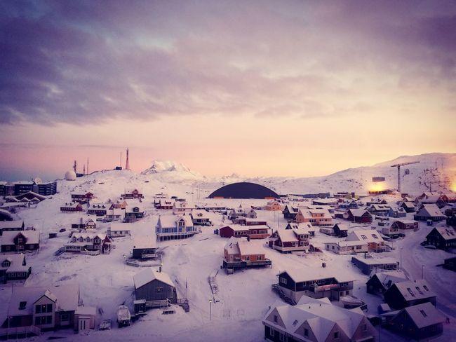 Nuuk at sunrise in winter Arctic City Inussivik Dawn Sunrise Beautiful Colors Winter Snowscape Sky Travel Destinations Outdoors Cloud - Sky