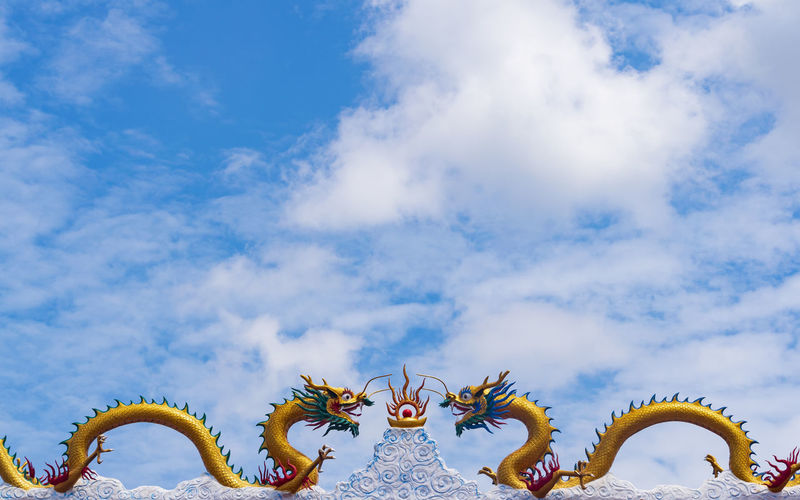 Mythology Blue Sky Cloud Buddha Sculpture Statue Cloud - Sky Backgrounds Colors Colorful Still Life Outdoors Temple Buddhist Day Flamingo Dragon Sky Chinese Dragon Chinese New Year Chinatown Chinese Culture Christmas Ornament Chinese Lantern