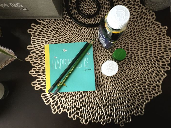 Sick Day Sickness Indoors  High Angle View Still Life Table Art And Craft Textile No People Craft Pattern Creativity Green Color Needle Equipment Directly Above Close-up Man Made Design Accuracy Autumn Mood