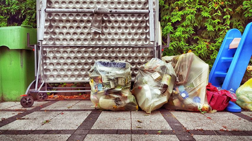 Bag Bags Colorful Day Dirt Disposal Metal No People Outdoor Photography Outdoors Packaging Pins Plastic Separation Streetphotography Table Tennis Waste Waste Disposal Waste Management Waste Separation Wasted