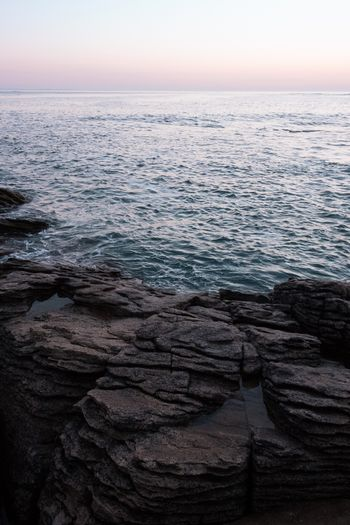 The meeting of elements Ocean Landscape Rocks Sea Sky Water Beauty In Nature Scenics - Nature Tranquility Horizon Over Water Horizon Tranquil Scene Sunset Nature No People Idyllic Non-urban Scene Outdoors