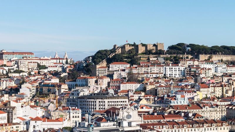 Lisbon, Portugal Architecture Building Exterior Built Structure Crowded Day Town Outdoors Clear Sky Cityscape Blue City Community Mountain Sky People Lisbon Lisboa