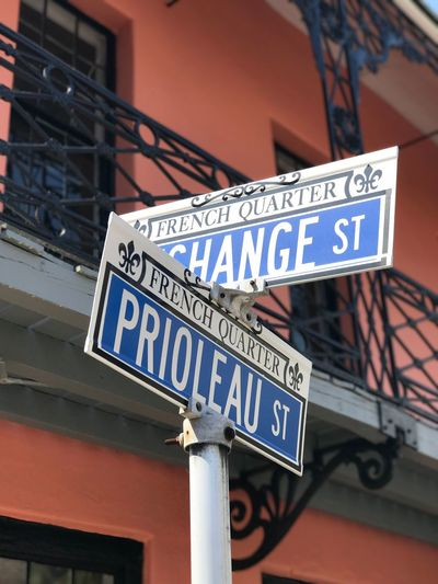 Text Western Script Communication Built Structure Architecture Building Exterior Day Outdoors No People Low Angle View Road Sign Close-up City PalmettoState Charleston SC French Quarter French Quarter Architecture