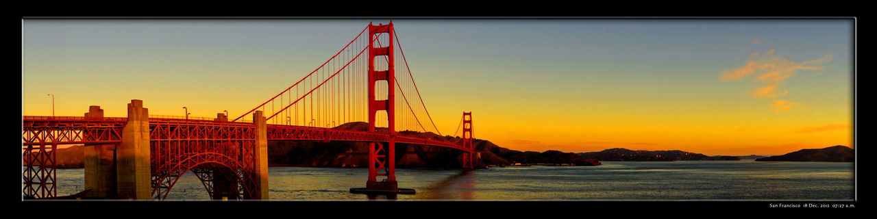 Architecture Bridge - Man Made Structure Built Structure Classic Photo Early Morning Golden Gate Bridge Golden Hour No People Orange Color Orange Horizon San Francisco Bay Sunrise Unique Moments Flying High