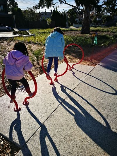 Childhood Sunlight Shadow Outdoors Playgrounds Funtime Kids Playing